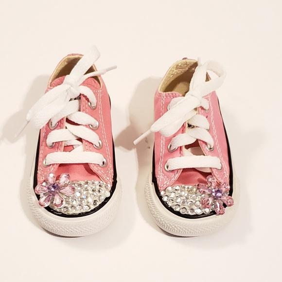 92ed721f4d6 Toddler Pink Rhinestone Converse Sneakers